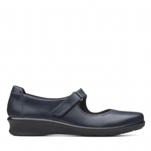 Clarks Hope Henley Navy Leather Womens Shoes